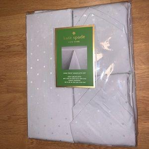 Kate Spade 9 Piece Tablecloth Set Gray Larabee Dot